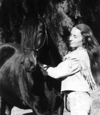 Barbara Anne Dunn with El Despejo, her Peruvian Paso - the Dark Horse of DarkHorse Ranch