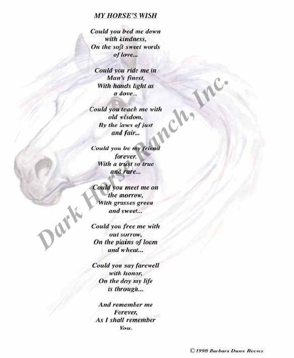 """My Horse's Wish"" - Poetry Print by Barbara Anne Dunn."